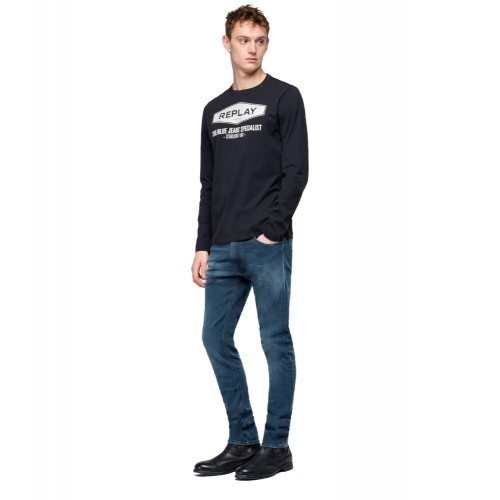 REPLAY ΑΝΔΡΙΚΗ ΜΑΚΟ ΜΠΛΟΥΖΑ M3850.000.2660.098 THE BLUE JEANS SPECIALIST